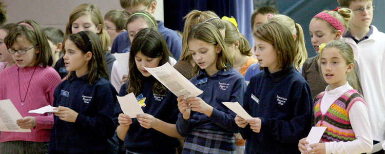 group of kids singing